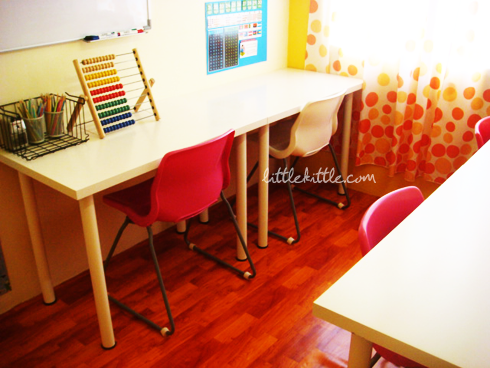 homeschool decor littlekittle 8 Spotted height chart? View from left to right: Hide cHan's study table, ...